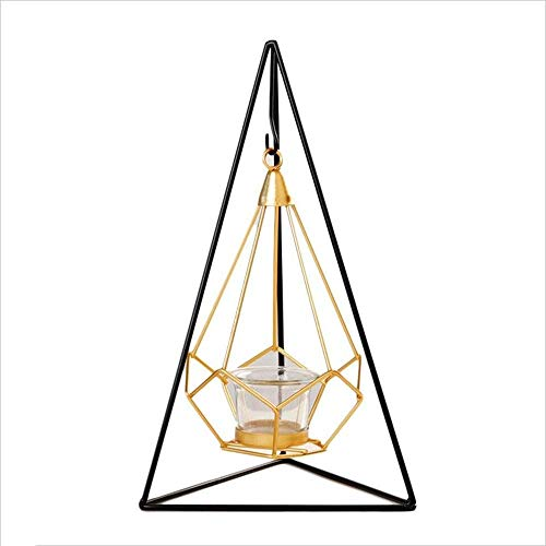 Candlestick Holders Wrought Iron Triangle Hanging Candle Decoration Metal Crafts Decoration Ornaments for Living Room (Color : Multicolored, Size : Free size)