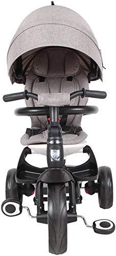 Bebé Triciclo Plegable Evolución Triciclo Plegable - Cinturón de seguridad - Toldo UV Rays,Grey