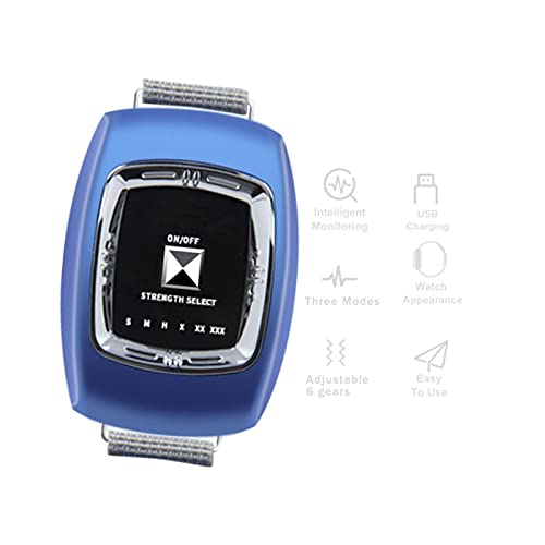 GJXJY Anti ronquidos Pulsera con 3 Modos y 6 Engranaje Ajustable, 2021 Muñequera Antirronquidos Dispositivos, USB Recargable Reloj Antirronquidos para Mujeres Y HombresBlue