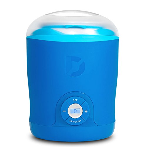 Dash Greek Yogurt Maker Machine with LCD Display + 2 BPA-Free Storage Containers with Lids: Perfect for Organic, Sweetened, Flavored, Plain, or Sugar Free Options for Baby, Kids, Parfaits - Blue
