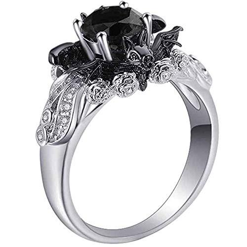 LJWJ Rings Ladies Fine Minimalist Stone Stone Jewellery,Black Bat Style Girls Elegance Ornaments, Silver/No.8