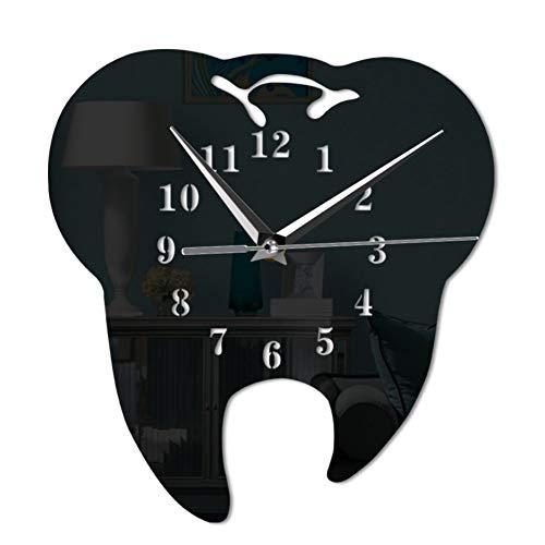 ALKLKJ Reloj De Pared Diente Reloj De Pared Espejo Relojes De Pared De Diseño Moderno Clínica Dental Arte Decoración De La Pared Regalo para Dentista Baño Reloj