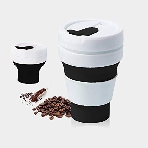Jinyang Coffee Tool 350ml Taza de viaje plegable de té de café plegable al aire libre, tamaño de bolsillo, taza de silicona con tapa (negro) Jinyang (Color : Black)