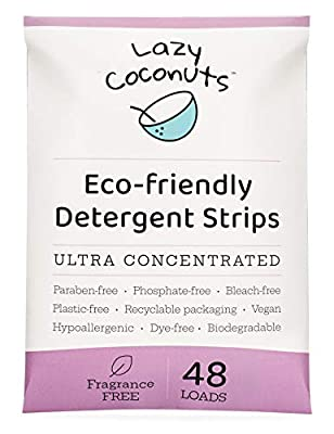 Lazy Coconuts Eco Friendly Laundry Detergent Strips - Fragrance Free Unscented, Ultra Concentrated, Earth Friendly No Plastic - Lightweight and Perfect for Home, Dorms, Travel, Camping