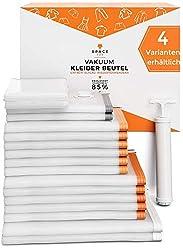 SpaceFox Vakuumbeutel für Kleidung - 17 Stück - Vakuumierbeutel mit Pumpe - 2 Jumbo 120x90cm, 5 Groß 100x70, 6 Mittel 70x50, 2 Klein 60x40, 2 Rollbeutel 38x54 - Vacuum Storage Bags