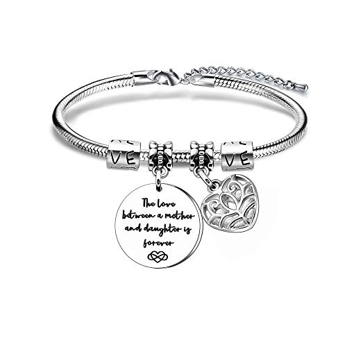 Maxforever - Pulsera de abalorios para mujer con el texto 'The Love Between a Mother and Daughter is Forever', regalo perfecto para madre e hija (plata)