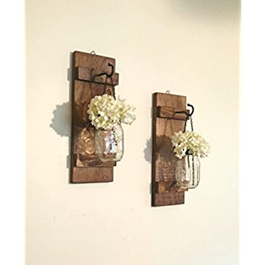 Hanging Mason Jar Wall Sconces Set of 2 Rustic Wall Decor with Back Chain and Lid