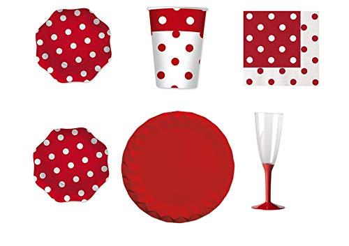 Gecoördineerde rode stippen voor Festa en Party Kit N.23 - (30 platte platen, 30 bekers, 40 servetten, 10 tafelkleden, 20 fluitjes met rode sokkel)