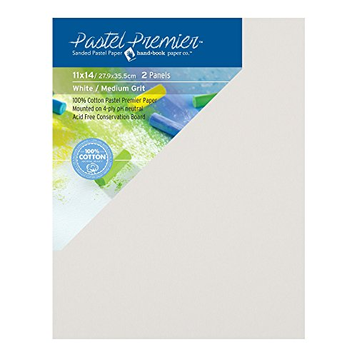 Pastel Premier Sanded Pastel Paper Conservation Panel, Medium Grit, 11x14 inches, White, 1 Package of 2 Panels