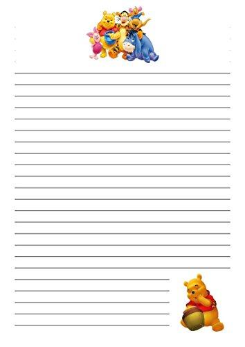 25 A5 Winnie the Pooh and Friends Design/d'écriture sur le thème des petits Établissements papier – étroit doublé papeterie