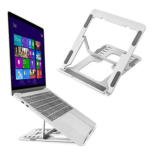 Laptop Stand,Aluminum Laptop Holder Riser Computer Tablet Stand with Slide-Proof Silicone,6-Angles Adjustable Ergonomic Computer Holder Compatible with MacBook,Lenovo,More 10-15.6 Laptops (Silver)