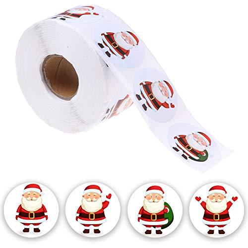 Omigga 800 Pcs Christmas Stickers Santa Claus Stickers Tags Self Adhesive Stickers for Christmas Party Decoration, 4 Styles,1 Roll