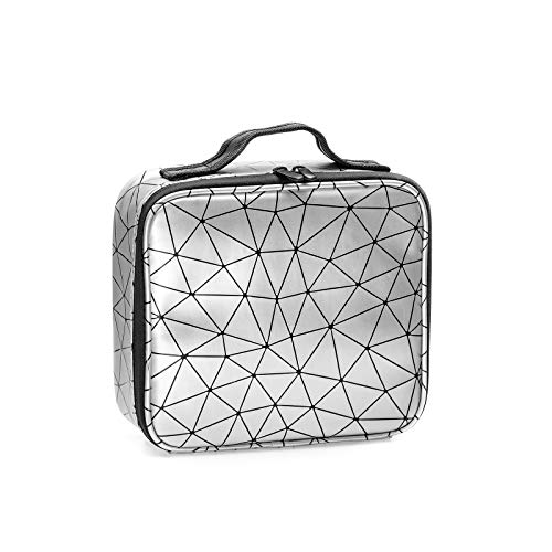 Travel Makeup Case PU Leather Professional Cosmetic Train Cases Artist Storage Bag Make Up Tool Boxes Brushes Bags With Compartments Waterproof Detachable Vanity Organizer,Diamond Shape Pattern(White)