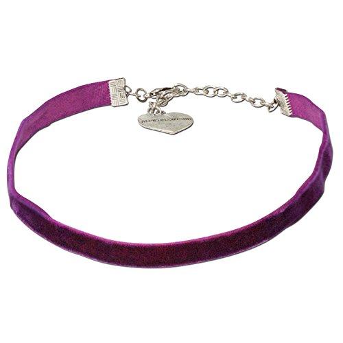 Alpenflüstern Trachten-Samt-Kropfband elastisch - Trachtenkette enganliegend, Velvet Kropfkette, Damen-Trachtenschmuck, Samtkropfband schmal lila-violett DHK076