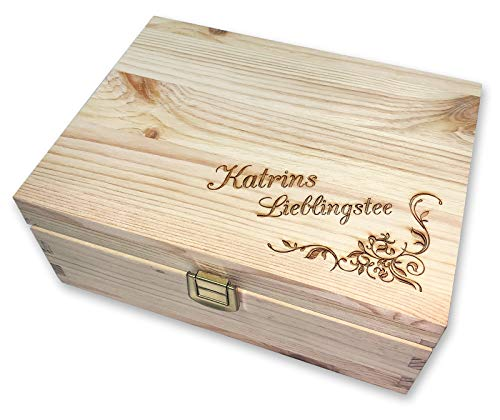 Werbetreff Gera Teebox aus Holz mit Name graviert, Schatztruhe, Holzbox Gravur für Mama, Schwester, Freundin oder Oma, Tee, Holzbox, Gravur, Geschenk Beste Oma