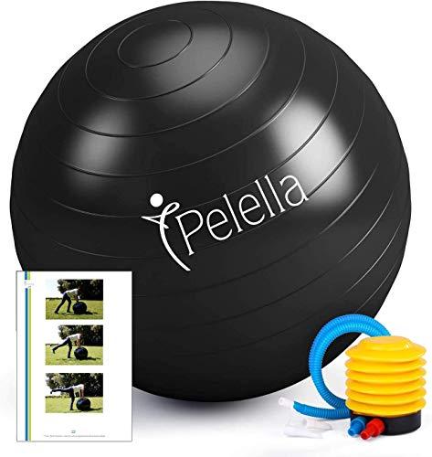 Pelota de fitness de 55 cm/65 cm, Ebook vídeo curso ejercicio gimnasia Fitball Fitness Gymball Pilates Yoga Pilates embarazo Herramientas Gimnasio Casa Fisioterapia Balance (55 cm)