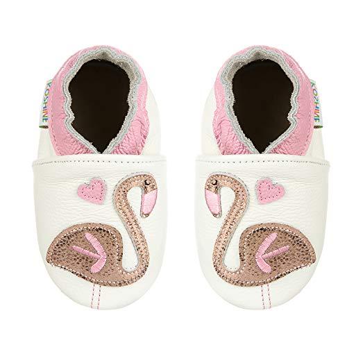 Mocasines de bebé de dibujos animados de cuero suave para niños primeros zapatos de bebé de 0-24 meses, cisne, 22/23 EU