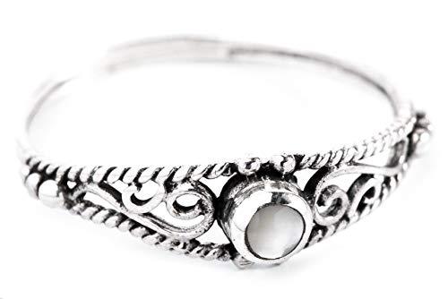 WINDALF Zarter Ring NAIRNE h: 0.5 cm Perlmutt 925 Sterlingsilber (Silber, 64 (20.4))