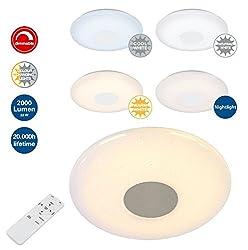 Trango LED Deckenleuchte TG3096 stufenlos dimmbar & stufenlos Farbtemperatur wahlbar 3000K bis 6000K - Wohnzimmer Deckenlampe, Küchenleuchte, Badleuchte, Flurlampe.