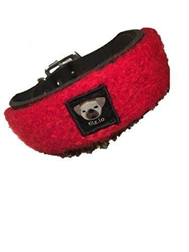 filz.io Hundehalsband schwarzes Lederhalsband mit Filzapplikation zum Wechseln- kirschrot (L) L:45-53cm, B:4cm