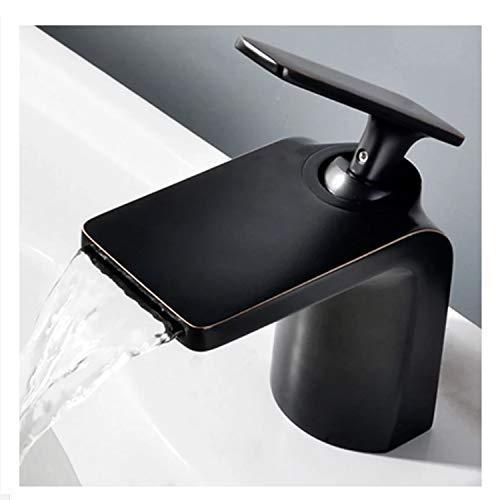 RONGW JKUNYU Grifo del Lavabo Grifería Grifería Orificio de baño Grifo de Uso Diario, Duradero (Color: Plata) (Color : Black)