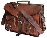 Handcrafted 18 Inch Leather Messenger Bag for Men Laptop Briefcase Computer Satchel Handmade Brown