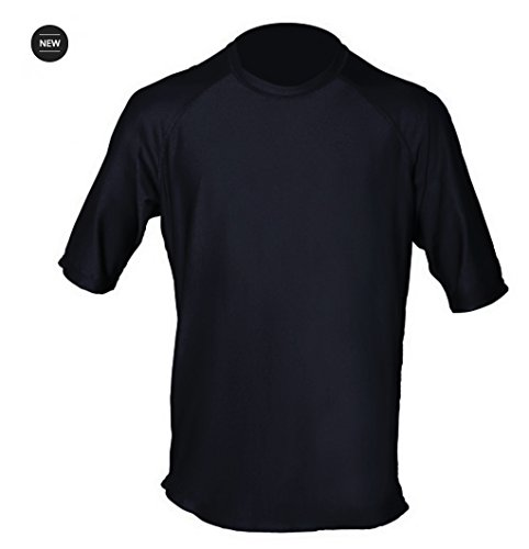 Loose Fit Swim Shirts for Men - Short Sleeve UV 50 + Sun Protection Swimwear - Play in The Sun All Day with No Sunburn - The Softest Most Comfortable Swimming Clothing (Black, XL)