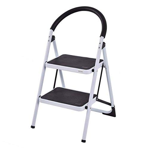COSTWAY Escalera Doméstico de Metal Plegable Escalerilla con Apoyabrazos Carga Hasta 150KG (2 Peldaños)