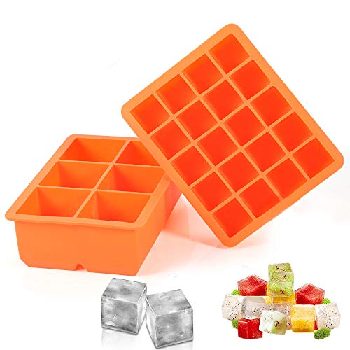 Ice Cube Tray, 2 Pack Silicone Ice Cube Molds 6+20 Large & Small Square Ice Cubes BPA Free Nontoxic Ice Cube,Flexible and Easy Release Orange (Square)