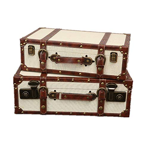 Maleta de Almacenamiento de Moda 2 juegos de las maletas retro decorativo con las manijas y cerraduras for la decoración casera de visualización de disparo Crafts Escaparate de Accesorios de Fotografí