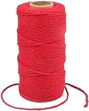 G2PLUS Rode katoenen touw, 100M Gift Wrapping Bakers String, 2MM Handwerk Decoratieve Cord Touw voor DIY Gift Decoraties