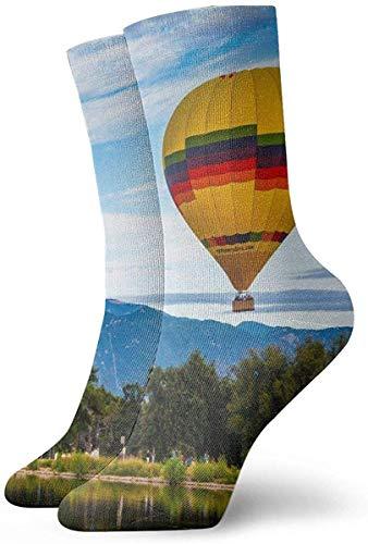 tyui7 Medias deportivas transpirables para hombres y mujeres Paseos en globo cuadrado Divertidos calcetines de poliéster 30 cm (11.8 pulgadas)
