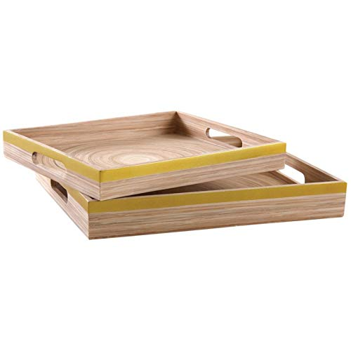 Bandejas de bambú lacado dorado (lote de 2)