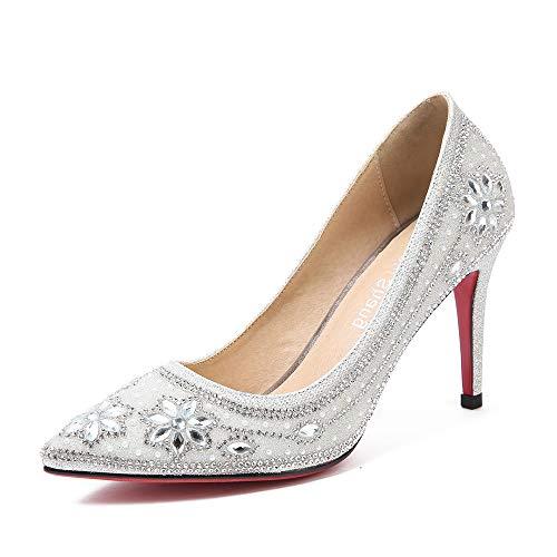 Silber Glitzern Brautschuhe Frauen Pumps Sexy Damen High Heels Fashion Party Frauen Schuhe Größe Blume Feiner Absatz Super High Heels,Silver9cm,37