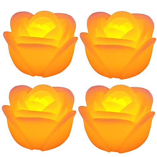 Kitosun Floating Candles Waterproof LED Floating Candle Flicker Wax Rose Flameless Tea Lights Water Activated for Proposal Wedding Home Party Centerpiece Vases Bath Pool Pond Decor (4 Rose, Amber)