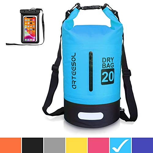 arteesol Waterproof Bag 5L/10L/20L/50L Dry Bag Rucksack with Double Shoulder Strap Backpack for Swimming Kayaking Boating Fishing Traveling Cycling Beach