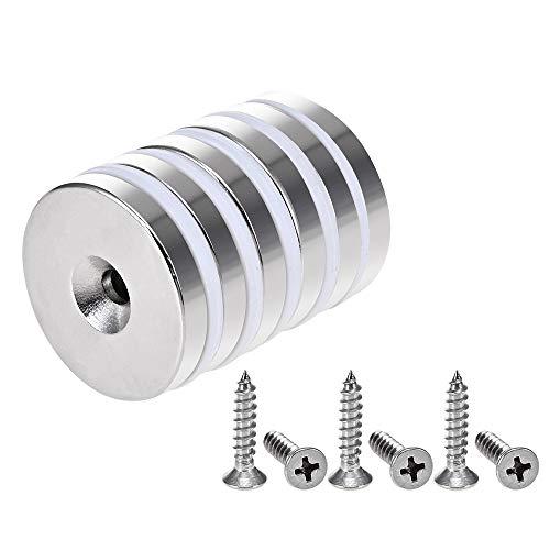 Anksixx 6 Stück Neodym Disc Magnete 32x5 mm Super Stark Permanent Rare Earth Magnete mit Stahlbecher und Schrauben…