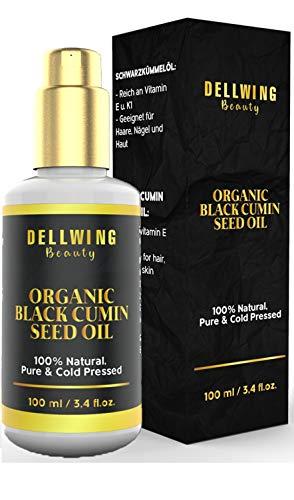 DELLWING Beauty Schwarzkümmelöl für Körper und Haare – Kaltgepresstes Schwarzkümmel Öl aus Ägypten gegen Unreinheiten und Entzündungen – Feuchtigkeitsspendend und antibakteriell - Pumpflasche 100 ml