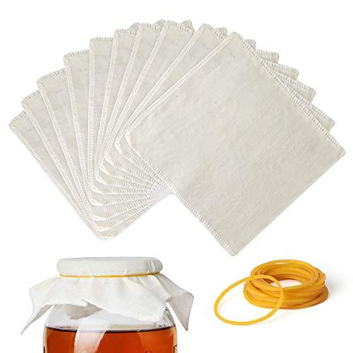 AIEVE 10 Stück Kombucha Deckel Baumwollstoff Brauen Tuch mit 20 Gummiband Brauen Zubehör Set für Kombucha Glas Jar Scoby Brauglas Weithalsöffnungen Gläser
