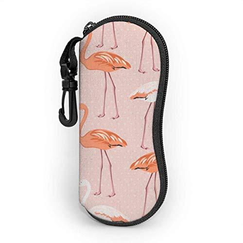 Funda Rígida Gafas de Sol Patrón de pareja de pájaros flamencos en lunares rosados Almacenaje Lente Suave Sunglasses Case con Clip de Cinturón para Gafas, Bolsa de Llaves, Lápices, Tarjetas