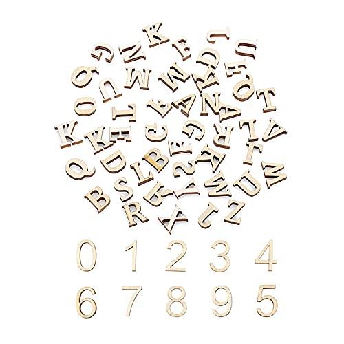 Dtoterul Letras Madera Pequeñas 200 Piezas Letras de Madera y Números Madera Letras Decorativas para Aprendizaje y Manualidades Letras Mayúsculas Cumpleaños Educación Juegos Alfabeto de Madera, 15MM