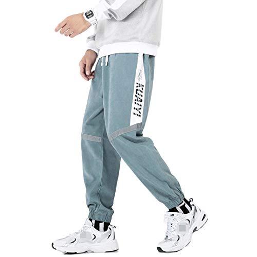 Pantalones Harem de Nueve Puntos con Costura para Hombre, Tendencia de Moda, Ropa de Calle, Pantalones Casuales con pies de viga de Cintura elástica Relajada XL