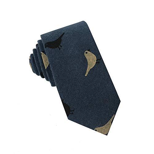 Kebocis Mens Cotton Narrow Necktie Bird Tie for Men Navy