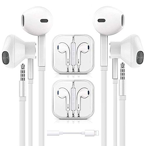 Earbuds - Earphone - Wired Headphones, 3.5mm in-Ear Wired Earbuds with Built-in Microphone & Volume Control Compatible with iPhone 6s plus/6/5s/5c/iPad/S10 Android All 3.5 mm Audio Devices (2 Pack)