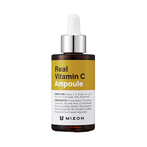 Mizon Real Vitamin C Ampoule, Pure Vitamin C 19% No Water Added, Only 10 Ingredients Formula for tone correction treatment, Nutrition and Face Moisturizer