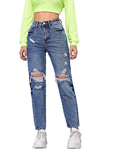 SheIn Women's High Waist Ripped Boyfriends Jeans Distressed Denim Long Pants Blue Small