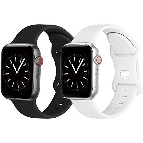 GROGON Kompatibel mit Apple Watch Armband 40mm 38mm,Weichem Silikon Sportarmband für iwatch SE Series 6 3 7 5 4 2 1(38mm40mm,Schwarz/Weiß)