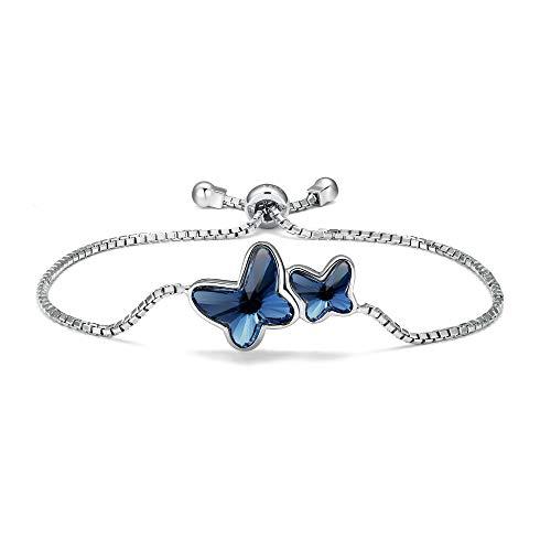 T400 Pulsera para Mujer Plata de Ley 925 Brazalete de Mariposas Hecho con Cristal,Regalo para Niñas Mujeres