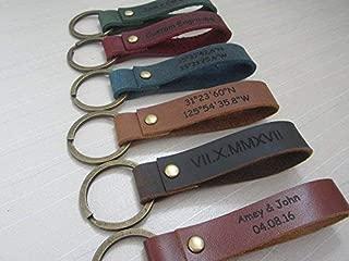 Engraved Leather Keychain,Custom engraved Key Chain,Personalized Key ring,Latitude Longitude keychain,Key Ring,leather keyfob,Leather Keyring, Wedding gift