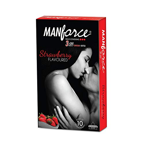 Manforce Extra Dotted Strawberry Condoms (Pack Of 3x10)